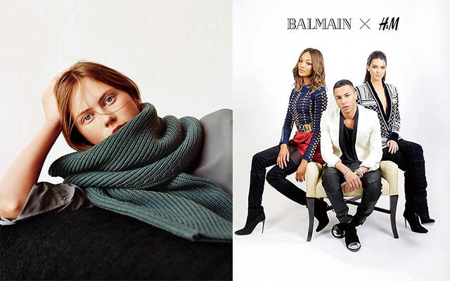 左:「ユニクロ アンド ルメール(UNIQLO AND LEMAIRE)」キャンペーンビジュアル 右:「H&M」×「バルマン(BALMAIN)」キャンペーンビジュアル