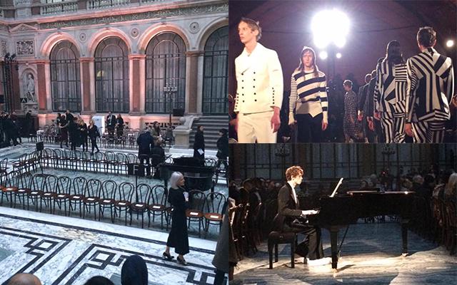 (左)2016-17年秋冬「アレキサンダー・マックイーン」のショー会場 (右上)16年春夏「アレキサンダー・マックイーン」のフィナーレ (右下)16-17年秋冬のショーは、ピアノの演奏とともに始まった