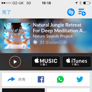 「マックイーン」のBGMだったNatural Jungle Retreat for Deep Meditation and Relaxationを検出した時のShazamの画面