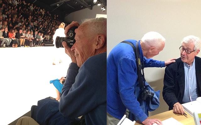 (右)「イッセイ ミヤケ」2015年春夏コレクションでのビル・カニンガム、(左)サンディカのディディエ・グランバック前会長が引退した直後に開いた著書のサイン会に駆けつけて労をねぎらうビル