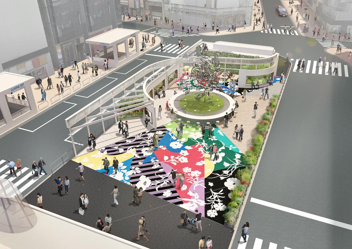 ルミネが新宿東口駅前に新たな広場をオープン 中央には7mを超える ...